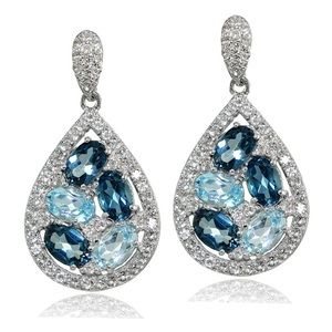 Sterling Silver London Blue Topaz Drop Earrings!